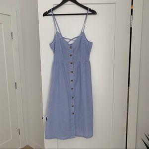 H&M Seersucker Midi Dress. NWT